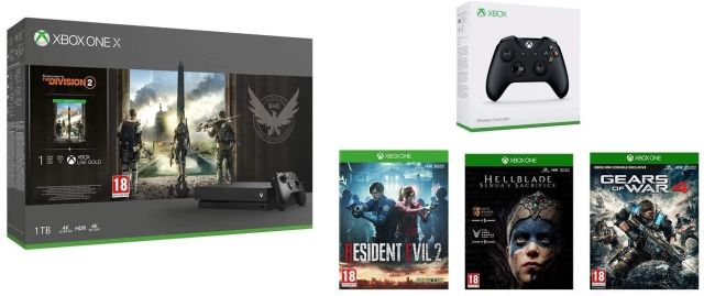 Xbox One X console with a second controller and four games